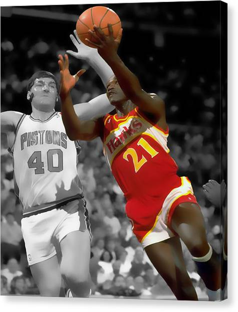 Atlanta Hawks Canvas Print - Dominique Wilkins And Bill Laimbeer by Brian Reaves