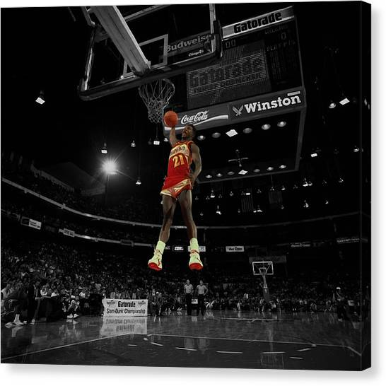 Atlanta Hawks Canvas Print - Dominique Wilkins And Michael Jordan Square Off  by Brian Reaves