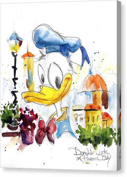 Ducks Canvas Print - Donald Duck In Florence Italy by Andrew Fling