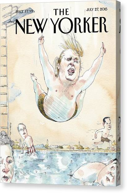 Donald Trump Canvas Print - Belly Flop by Barry Blitt