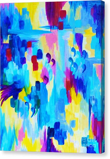 Pattern Canvas Print - Dont Quote Me Revisited Bold Colorful Blue Pink Abstract Acrylic Painting Gift Art Home Decor  by Julia Di Sano