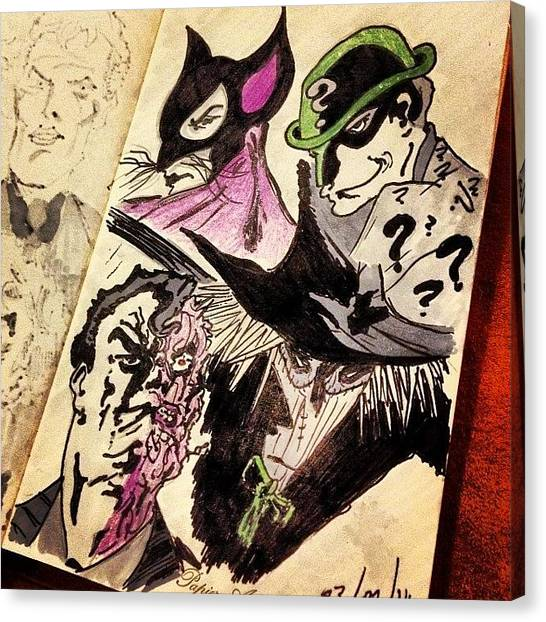 Scarecrows Canvas Print - Doodle: Catwoman, Riddler, Scarecrow by Sam Rees-williams