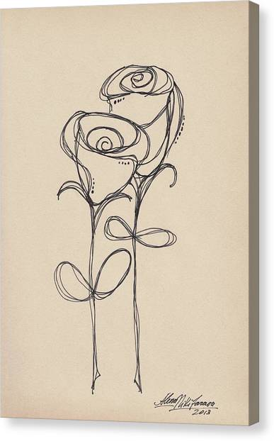 Doodle Roses Canvas Print