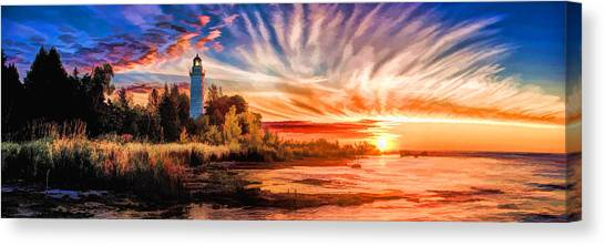Door County Cana Island Lighthouse Sunrise Panorama Canvas Print