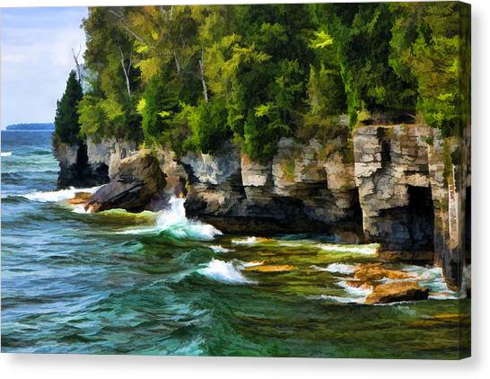 Door County Cave Point Cliffs Canvas Print