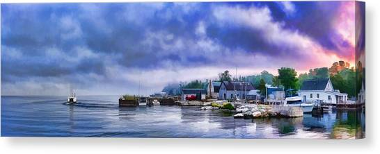 Door County Gills Rock Morning Catch Panorama Canvas Print