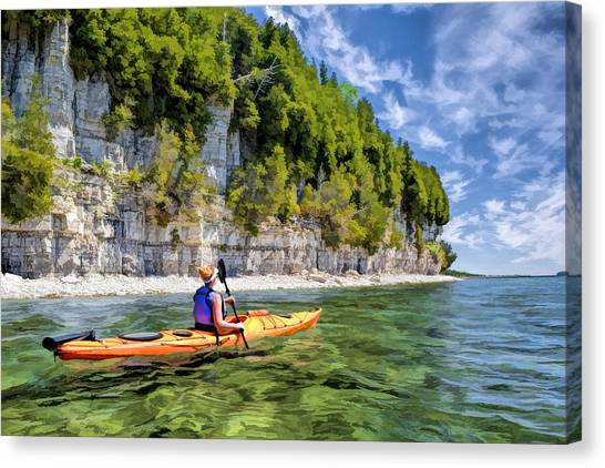 Door County Kayaking Around Rock Island State Park Canvas Print