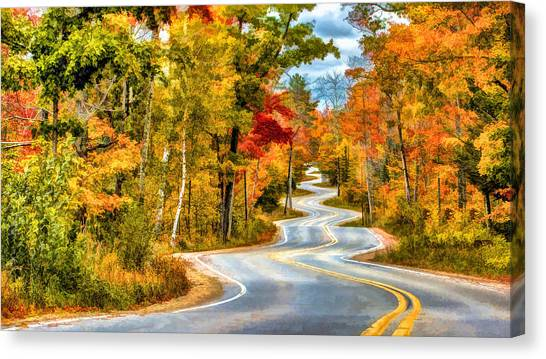 Door County Road To Northport In Autumn Canvas Print