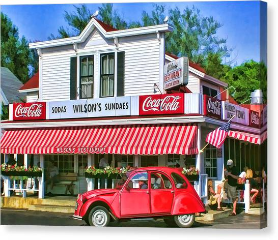 Coca Cola Canvas Print - Door County Wilson's Restaurant And Ice Cream Parlor by Christopher Arndt