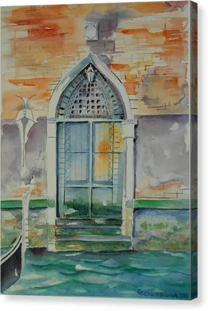Door In Venice-italy Canvas Print
