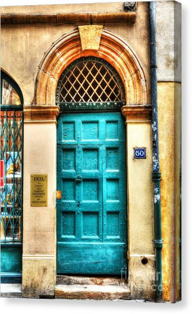 Drain Pipe Canvas Print - Doors Of Old Lyon by Mel Steinhauer
