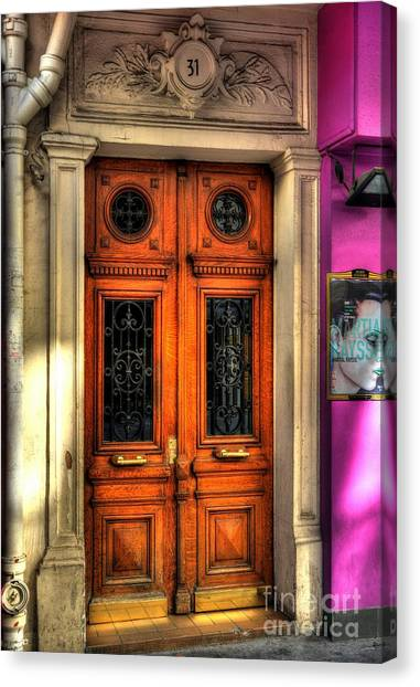 Drain Pipe Canvas Print - Doors Of Rue Cler 2 by Mel Steinhauer