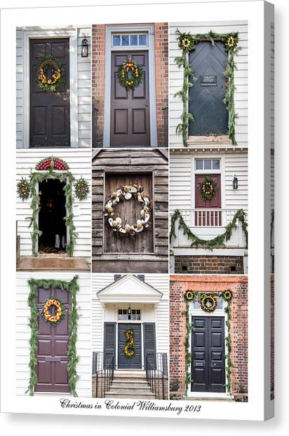 Royal Colony Canvas Print - Doors Of Williamsburg Collage 2 by Teresa Mucha