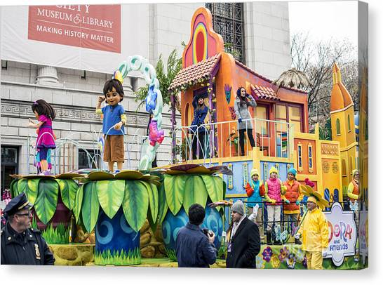 Macys Parade Canvas Print - Dora And Friends Aventuras Fantasticas Float By Nickelodeon At Macy's Thanksgiving Day Parade by David Oppenheimer