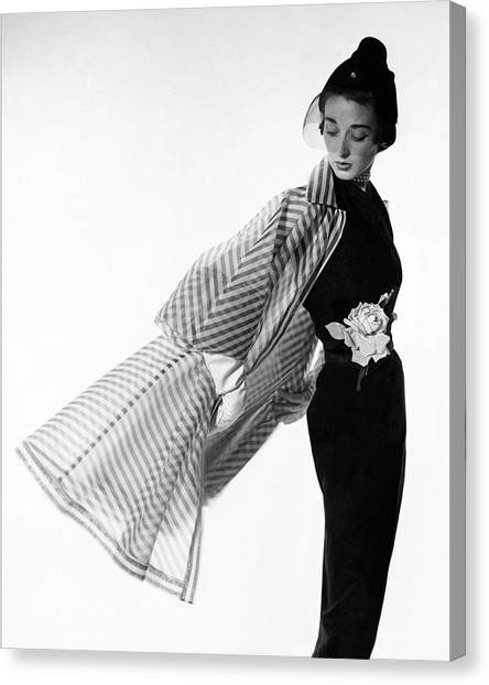 Dorian Leigh Wearing A Bonnie Cashin Dress Canvas Print