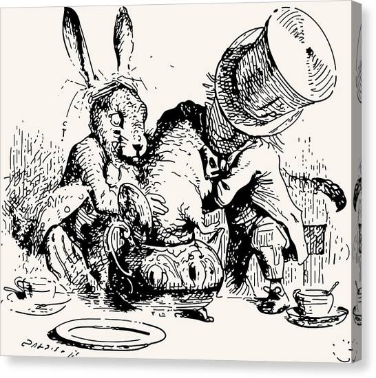 March Hare Canvas Print - Dormouse In The Teapot Mad Tea Party by John Tenniel