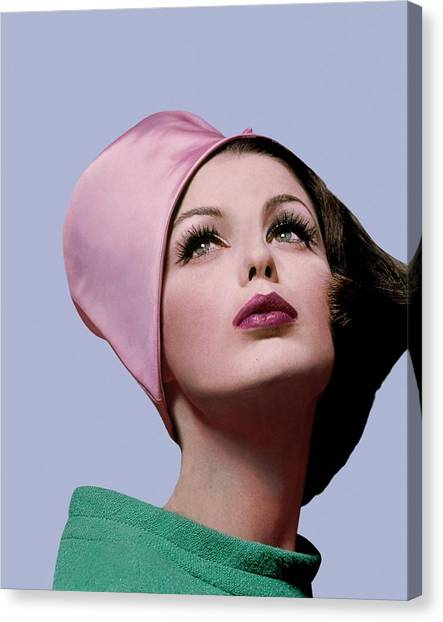 Chin Canvas Print - Dorothea Mcgowan In A Cloche by Bert Stern