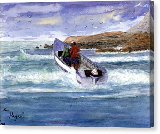 Dory Boat Heading To Sea Canvas Print