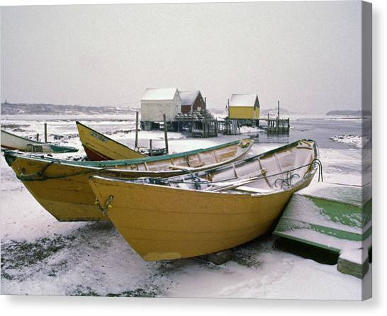 Dorys In Winter At Blue Rocks Nova Scotia Canvas Print