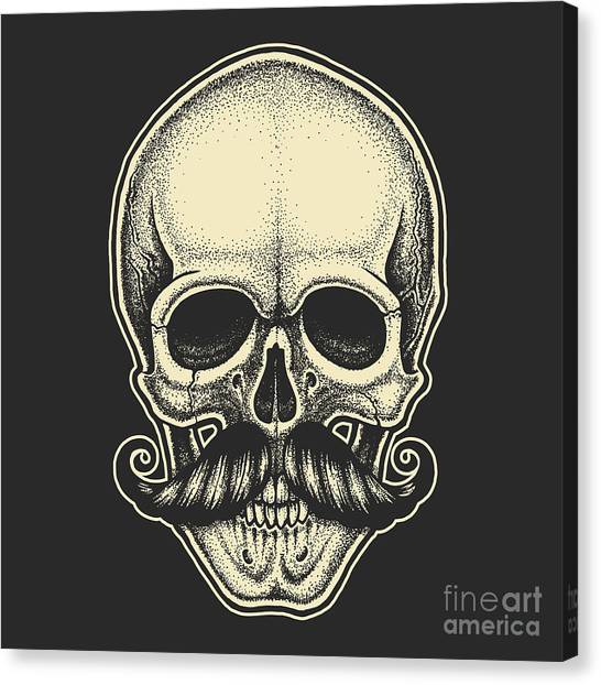 Star Trek Canvas Print - Dotwork Styled Skull With Moustache by Mr bachinsky