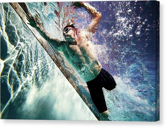 Royal Marines Canvas Print - Double Amputee Swimming by U.s. Marine Corps