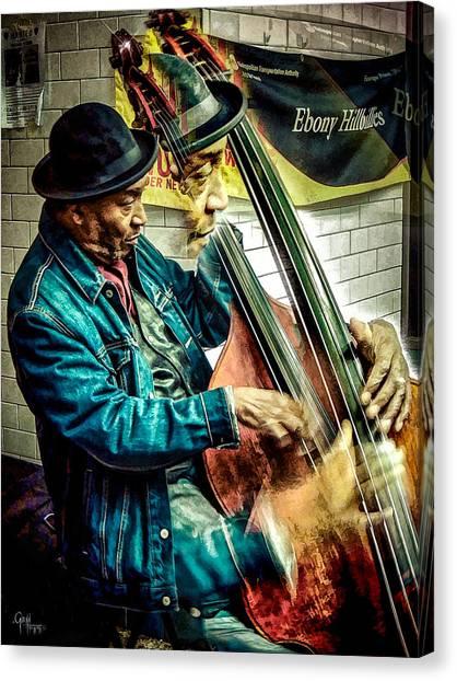 Double Bass. Man Canvas Print