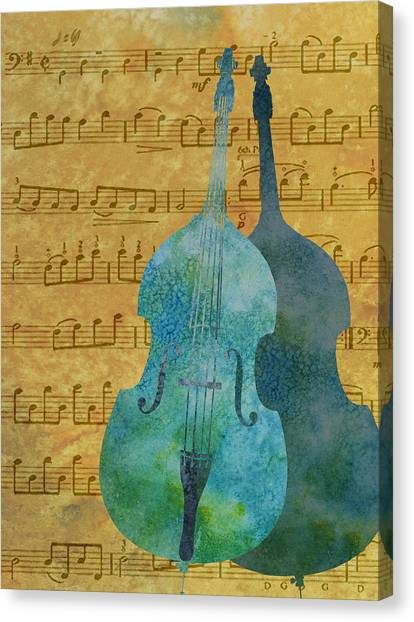 Double Bass Score Canvas Print