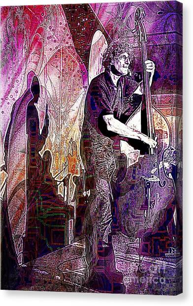 Double Bass Silhouette  Canvas Print