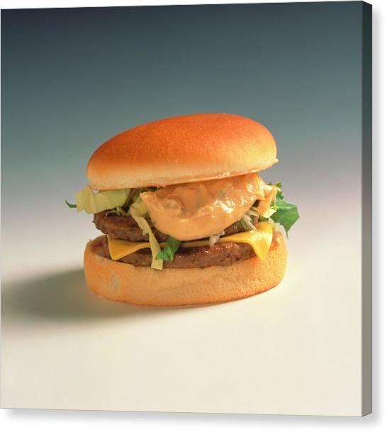 Hamburger Canvas Print - Double Cheeseburger by Cc Studio/science Photo Library