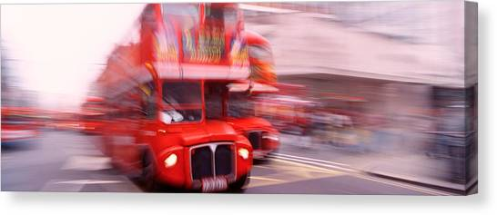 Accelerate Canvas Print - Double Decker Bus, London, England by Panoramic Images