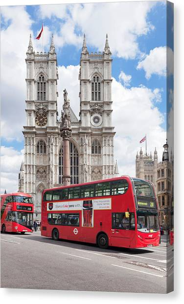 Westminster Abbey Canvas Print - Double-decker Buses Passing by Panoramic Images