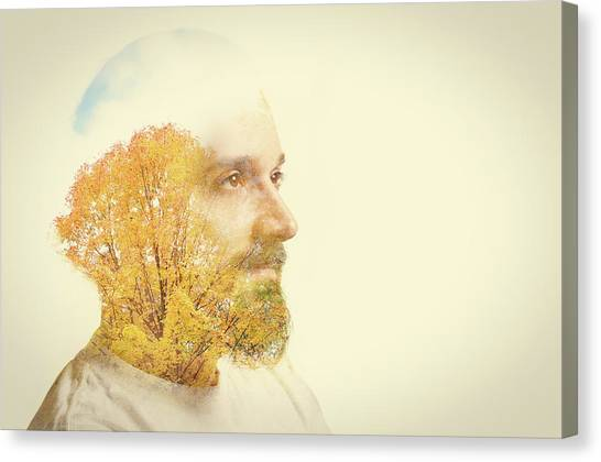 Double Exposure Man With Beard And Fall Canvas Print by Sdominick