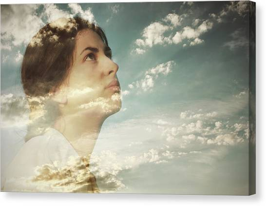 Double Exposure Of A Young Woman And Canvas Print by Owl Stories