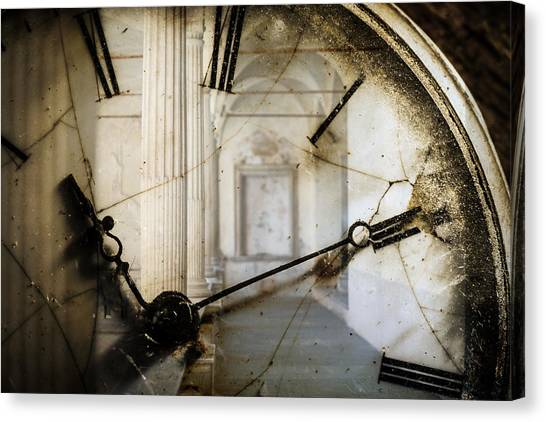 Double Exposure Of Antique Pocket Watch And Old Architecture Canvas Print by Ilbusca