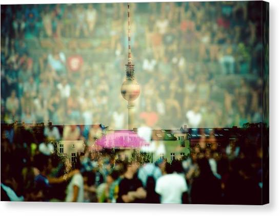 Double Exposure Of Crowd And Communications Tower Canvas Print by Thorsten Gast / EyeEm