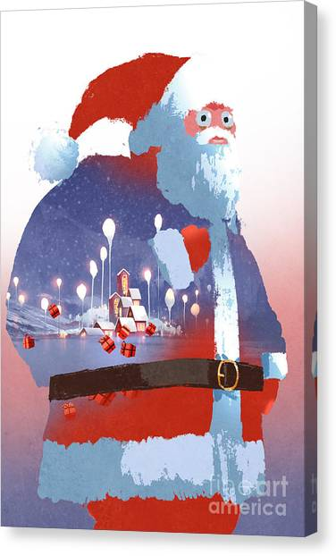 Happy Canvas Print - Double Exposure Of Santa Claus And by Tithi Luadthong