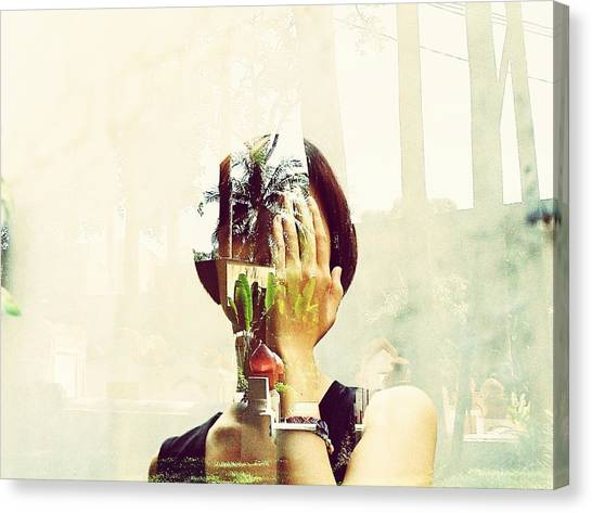 Double Exposure Of Woman And Trees With Reflection Canvas Print by Quan Tran Minh / EyeEm