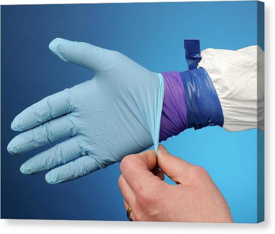 Protective Clothing Canvas Print - Double Gloving With Hazmat Suit by Public Health England