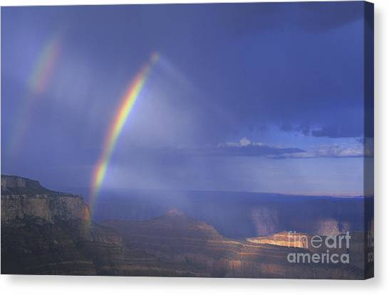 Double Rainbow At Cape Royal Grand Canyon National Park Canvas Print