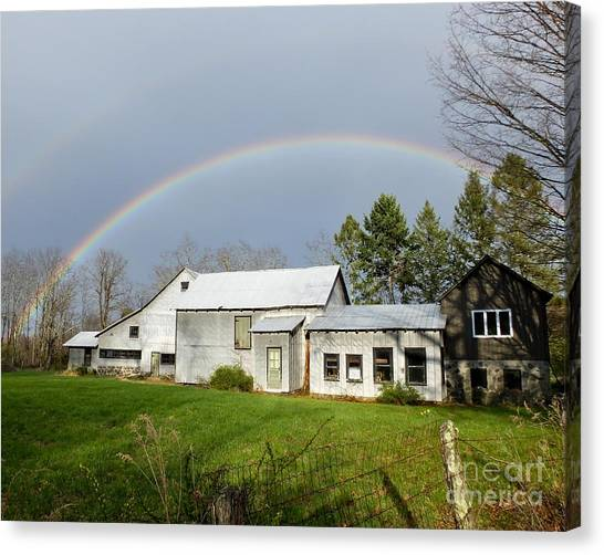 Canvas Print featuring the photograph Double Rainbow Over Barn by Kristen Fox