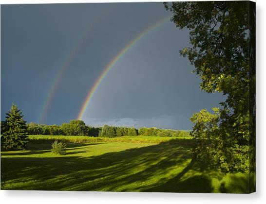 Double Rainbow Over Fields Canvas Print