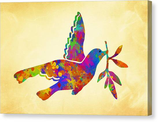 Dove Canvas Print - Dove With Olive Branch by Christina Rollo