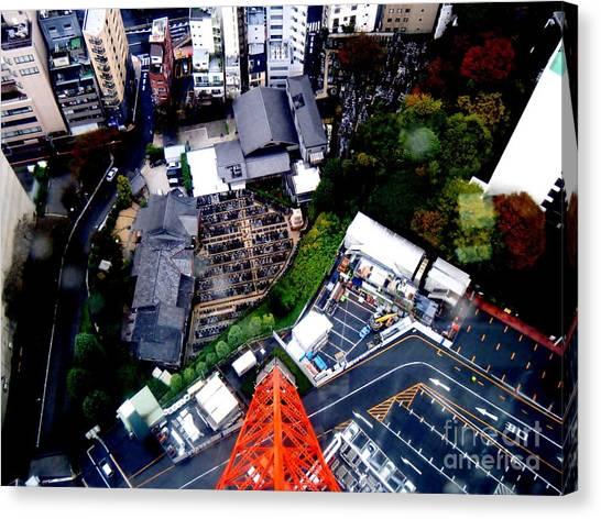 Tokyo Skyline Canvas Print - Falling by Nelly Bacskay