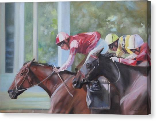 Down The Backstretch Canvas Print