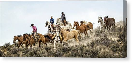 Colorado Cowgirl Canvas Print - Down The Hill by Joan Davis