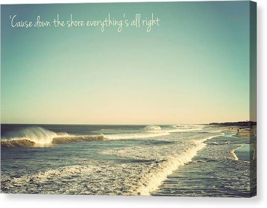 Down The Shore Seaside Heights Vintage Quote Canvas Print