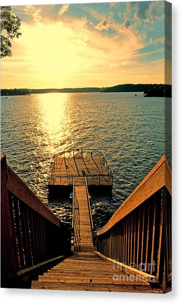 Down To The Fishing Dock - Lake Of The Ozarks Mo Canvas Print