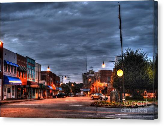 Down Town Granite Falls At Six Thirty In The Morning Canvas Print