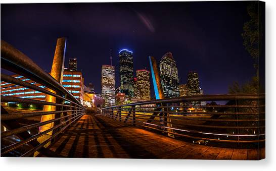Down Town Houston From The Buffalo Bayou Bridge Canvas Print
