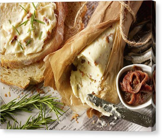 Down View Of Anchovy Butter Canvas Print